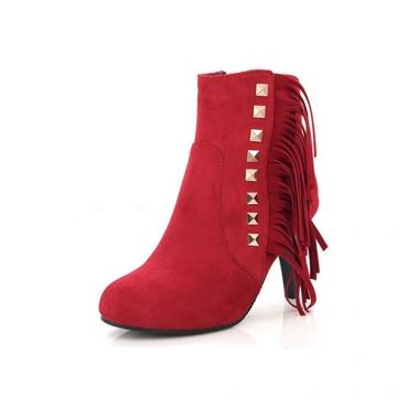Elegantes rodada toe borla design stiletto salto alto botas de camurça vermelha