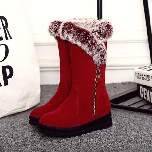 Elegante rodada dedo do pé zíper design baixo salto vermelho camurça neve botas