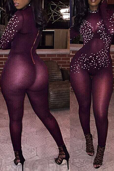 Sexy Turtleneck Long Sleeves Rhinestone Decorative Wine Red Gauze One-piece Jumpsuits