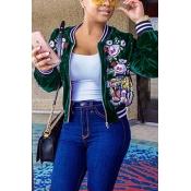 Fashion Round Neck Long Sleeves Embroidery Green Velvet Short Coat