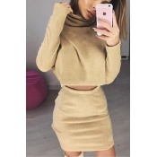 Stylish High Collar Long Sleeves Khaki Cotton Two-