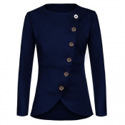 Trendy Round Neck Long Sleeves Single-breasted Design Royalblue Polyester Suit