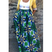 Elegante de alta cintura de impressão floral de poliéster le
