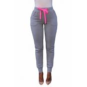Euramerican Elastic Waist Lace-up Light Grey Cotton Skinny Pants