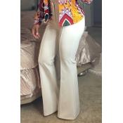 Fashion High Waist White Blending Bell-bottoms Pan
