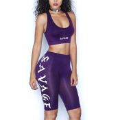 Sexy U-shaped Neck Sleeveless Letters Printed Backless Purple Polyester Two-piece Shorts Set