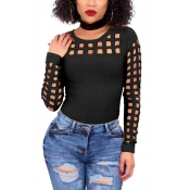 Sexy Round Neck Long Sleeves Hollow-out Black Blending T-shirt