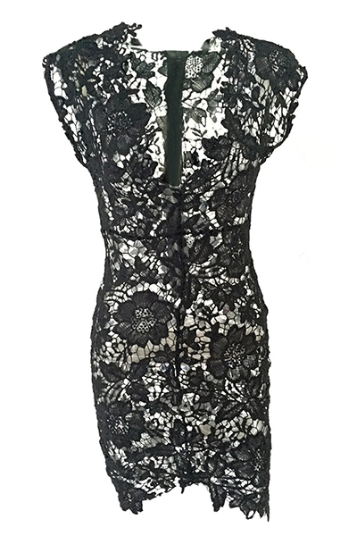Sexy V Neck Cap Sleeves See-Through Black Lace Sheath Knee Length Dress