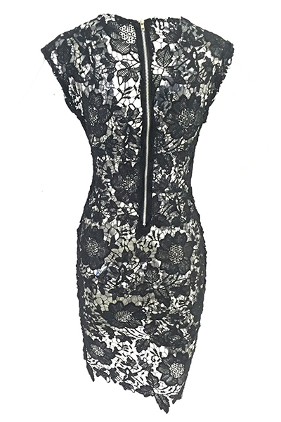 V del cuello atractivo del cierre de cremallera Ver-Por la longitud de la rodilla vestido de cordón de la envoltura Negro