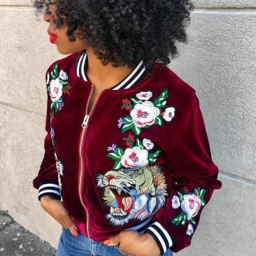 Fashion Round Neck Long Sleeves Embroidery Red Velvet Short Coat