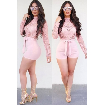 Sexy Mandarin Collar Long Sleeves See-Through Pink Bud Silk  One-piece Jumpsuits(Without Belt)