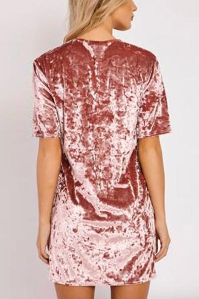 Stylish Round Neck Short Sleeves Pink Velvet Mini Dress