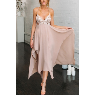 Cotton Blend Bohemian V Neck Spaghetti Strap Sleeveless A Line Ankle Length Dresses