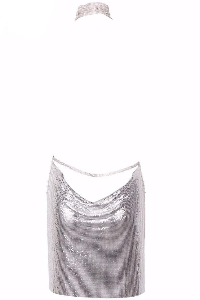Sexy Halter V Neck Spaghetti Strap Sleeveless Backless Silver Sequined Mini Dress