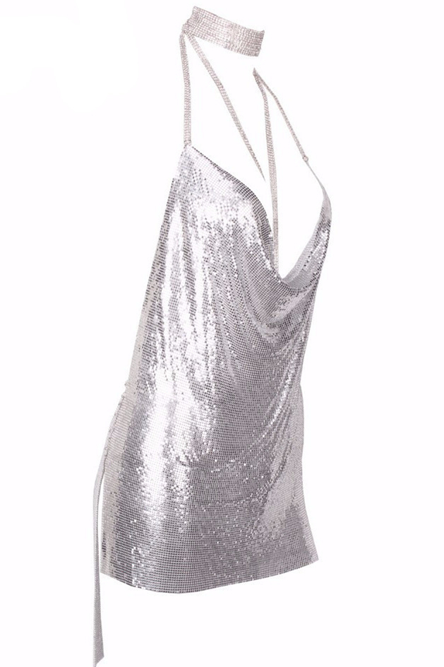 Sexy Halter V Neck Spaghetti Strap Sleeveless Backless Silver Sequined Mini Dress