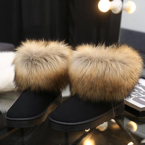 Moda rodada toe pele design plano baixo salto camurça preta curta neve botas