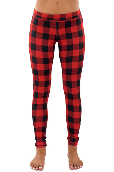 Stylish Mid Waist Plaids Printed Red Polyester Leggings