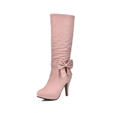 Design rodada elegante zíper design + arco decorativo estilete super salto alto rosa PU meias botas de bezerro