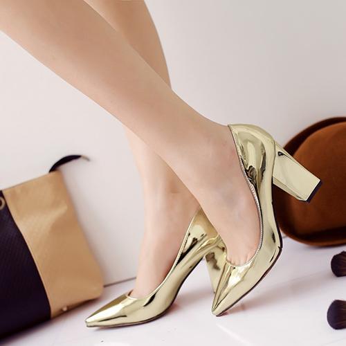 мода указал закрытым носком неглубоко дизайн рот коренастый высокой пятки золота PU основные насосы