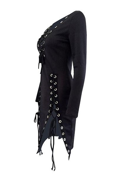Sexy V mangas compridas rendas-up hollow-out vestido mini tecido preto saudável