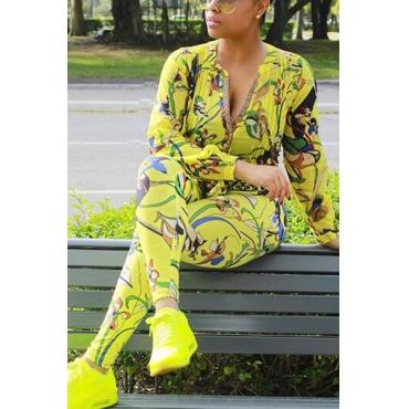 Euramerican V Neck Long Sleeves Printed Yellow Twilled Satin Two-piece Pants Set