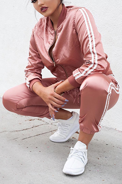 Leisure Round Neck Long Sleeves Patchwork Pink Polyester Two-piece Pants Set