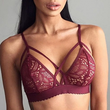 Sexy Spaghetti Strap Hollow-out Red Lace Bralette
