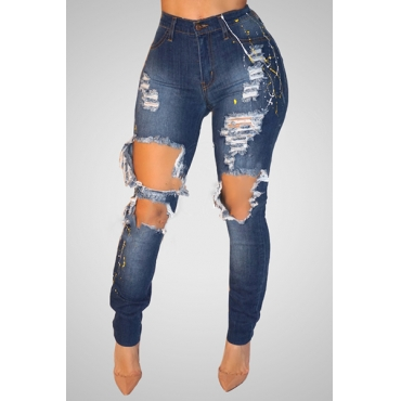 Stylish High Waist Printed Broken Holes Blue Denim Jeans
