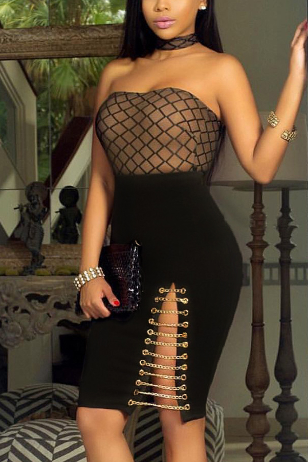 Sexy Bateau Neck Sleeveless Patchwork Blending Sheath Knee Length Dress