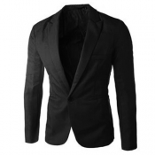 Stylish Turndown Collar Long Sleeves Single Button Design Black Cotton Blends Business Suit
