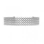 Euramerican V-shaped Silver Metal Necklace