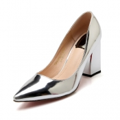 Fashion Pointed Closed Toe Shallow Mouth Design Chunky High Heel Silver PU Basic Pumps