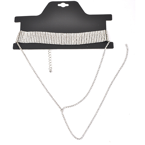 Euramerican Rhinestone Decorative Silver Crystal Necklace