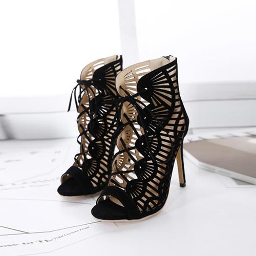 Estilo redondo peep toe hollow-out stiletto super alta preto camurça cross sandálias da cinta