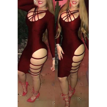 Sexy V Neck Long Sleeves Hollow-out Wine RedTwilled Satin Sheath Knee Length Dress