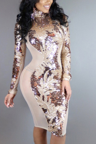 Sexy Mandarin Collar Long Sleeves Sequined Decorative Knee Length Dress