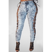 Sexy High Waist Lace-up Hollow-out Blue Denim Jean