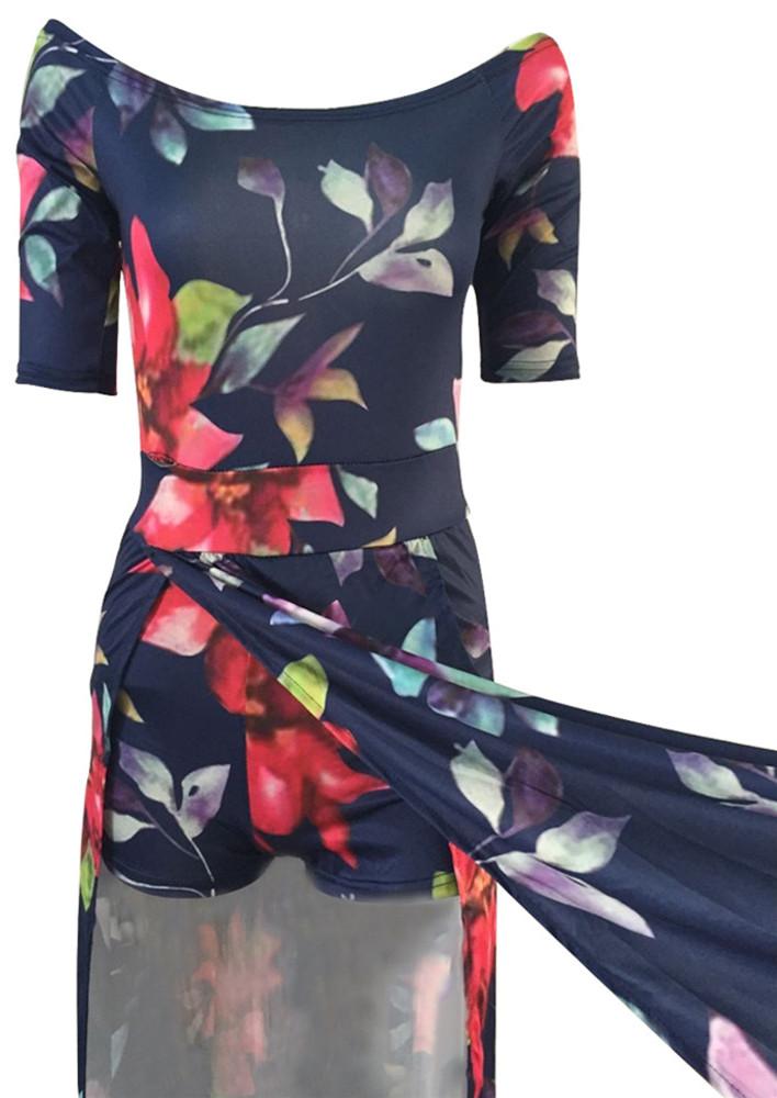 Stylish Bateau Neck Strapless Half Sleeves Floral Print High Split Qmilch Floor length Dress