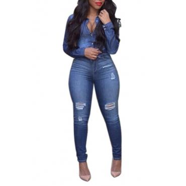 Stylish Turndown Collar Long Sleeves Button Design Blue Denim Two-piece Pants Set