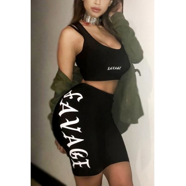 Sexy U-shaped Neck Sleeveless Letters Printed Backless Black Polyester Two-piece Shorts Set