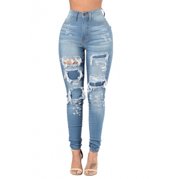 Stylish High Waist Broken Holes Blue Cotton Jeans