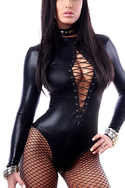 Sexy шею длинными рукавами черный Искусственные Цельные Комбинезоны