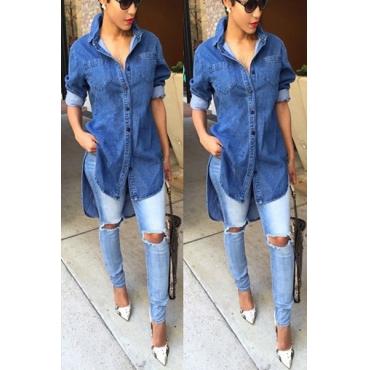 Casual Turndown Collar Long Sleeves Asymmetrical Blue Denim Mini Dress