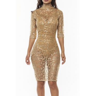 Sexy Turtleneck Half Sleeves See-Through Gold Polyester Sheath Knee Length Dresses (Include  Jumpsuit)