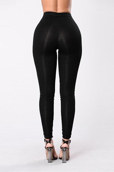 Elegante cintura alta Hollow-out Poliéster Black Leggings