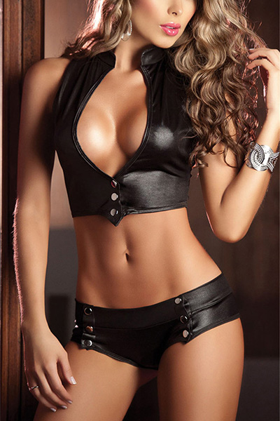 Sexy Deep V Neck Button Design Black Faux leather Two-piece Shorts Set
