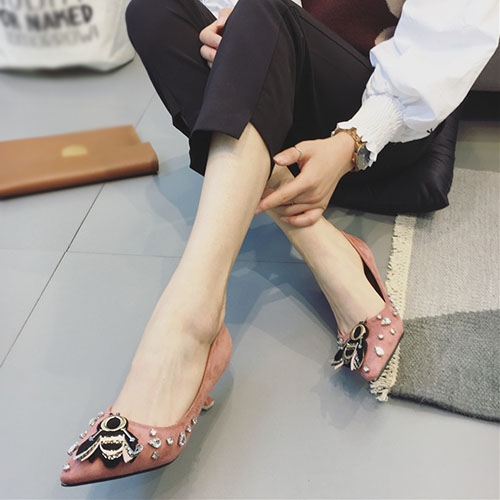 Suede Pointed Toe Closed Toe Stiletto Mid Heel Fashion Basic Pumps