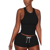 Black Cotton Blend Shorts Solid U Neck Sleeveless Casual Two Pieces