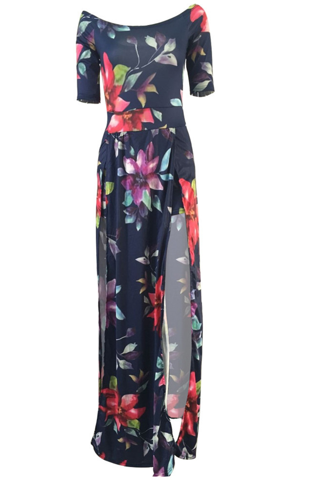 Stylish Bateau Neck Strapless Half Sleeves Floral Print High Split Qmilch Floor length Dress