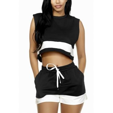 Black Cotton Shorts Color Block O neck Sleeveless Casual Two Pieces